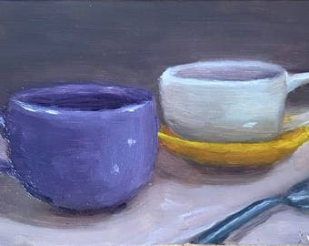 "Coffee mugs _ 7""x5"" Oil Painting"