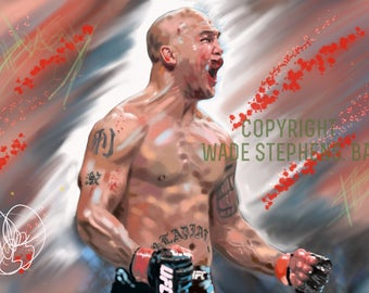 Robbie Lawlor MMA.  'Ruthless'. original printed artwork painting. Canvas print or framed signed numbered prints.
