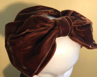 Vintage 30's Brown Velvet Scullcap // Juliet // Toque Hat
