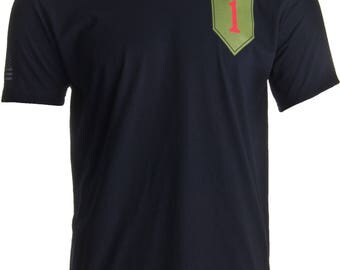 1st Infantry Division & Sleeve Flag | Military US Army 1ID Big Red One T-shirt