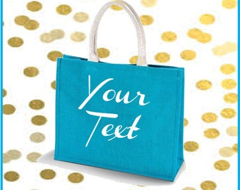 Jute Turquoise Beach/Shopping Bag