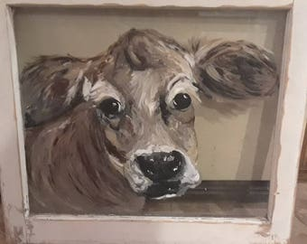Cow window painting