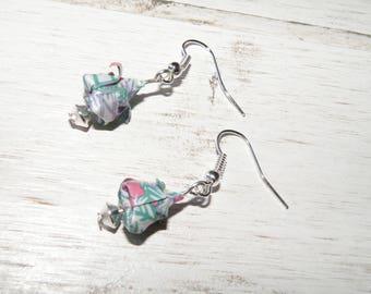 Lotus beads and origami earrings