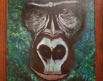 Johnny.  Abstract gorilla acrylic on canvas original painting.