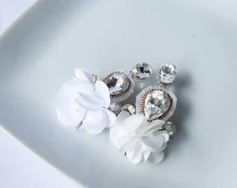 White earrings, birthday earrings, white tassel earrings, crystal earrings, tassel earrings, baptism earrings, statement earrings