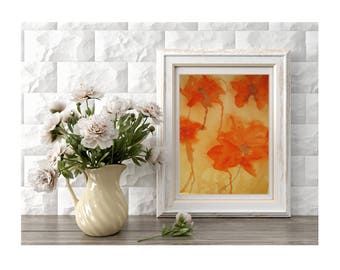 Original Red Poppies Wall Art Field of Red Poppies Red Poppy Flowers Art Small Art Home Decor Spring Flowers Gift for Mother