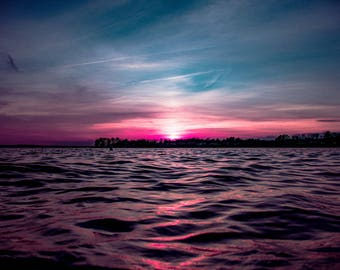 pink and blue sunset
