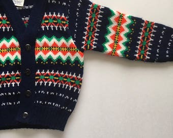Navy Blue Knitique 1960s Soft Acrylic Toddler Cardigan