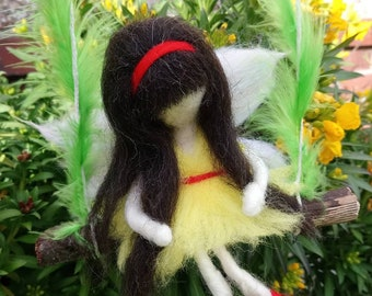 Needle felted doll, Fairy on swing