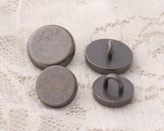 metal buttons 2 size 12*6/10*6mm 10pcs shirt sewing button zinc alloy light black button shank buttons smooth buttons