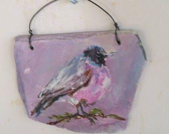 Painted slate bird