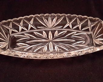 Hazel Atlas cut glass celery dish