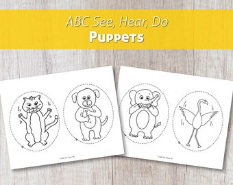 ABC See, Hear, Do Printable Animal Puppets