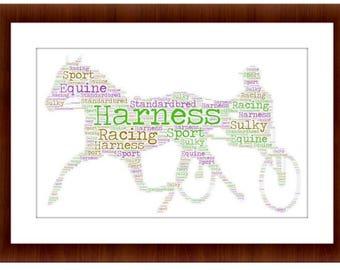 Harness Racing personalised framed print
