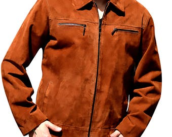 Custom Suede Leather Jacket Men, Brown Leather Jacket, Zippered Leather Jacket, Goatskin Leather Jacket, Biker Jacket, Suede Leather Jacket