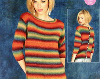 Stylecraft Ladies New DK Knitting Pattern 9181. Ladies Sweater with Buttoned Back in Cabaret Yarn