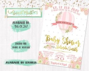 Hot Air Balloon Baby  Shower Invitation / Digital File / Printable