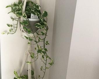 Macrame Plant hanger/ double macrame plant hanger/ home decor/gift/fibre Art/plant holder/home decor/trending Modern macrame/Modern macrame