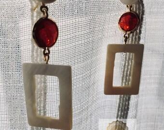 Square Nacre & Stone Earrings