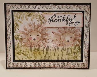 Handmade Hedgehog card/I am thankful for you