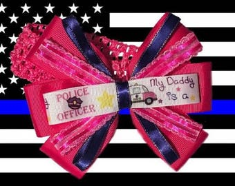 Pink Daddy's Police Baby Headband Hair Bow