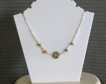 """15"""" brown stone bead necklace"""