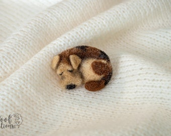 Needle felted brooch with a sleeping dog. Felted animal brooch of wool. Needle felting dog Needle felting dog Felted dog Felted dog brooch
