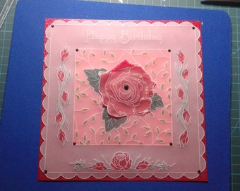 """Handmade Parchment Card. """"Happy Birthday"""" Red Roses."""