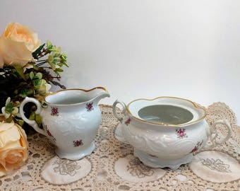 Cream and Sugar milk Set WALBRZYCH China Porcelain Made In Poland Vintage Floral