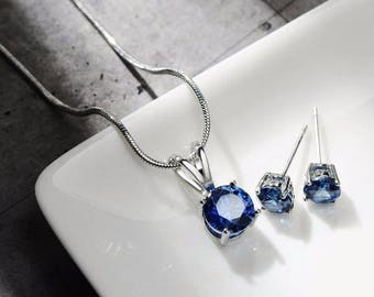 Necklace gemstone, earrings