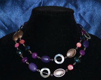 Purple Blue and Pink Necklace