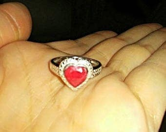 Ruby heart sterling silver ring