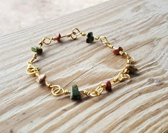 Kambaba Jasper Natural Stone Chip Wire Wrapped Link Bracelet