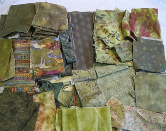 Stash-Buster Green Cotton Quilting Fabric Scraps