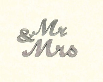 """6""""H Mr & Mrs Signs - Silver"""