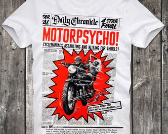 T-Shirt Motorpsycho Cult Sexploitation Biker Movie Route 66 Motorbike Russ Meyer Pin Up Retro Vintage
