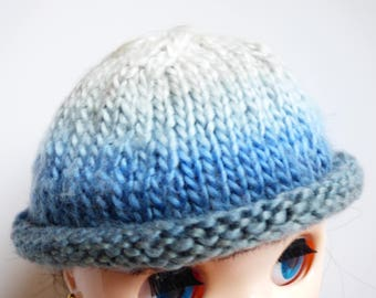 Knitted doll hat with a folded rim Blythe