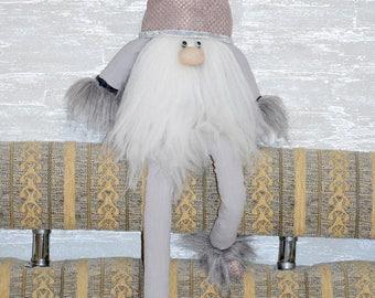 Interior textile toy dwarf in a brown hood, eco toy, dwarf, dwarf with long legs, Souvenir, Dollhouse, Handmade
