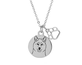 Akita Charm Necklace, Stainless Steel Akita Necklace, Akita Jewelry, Akita Gift
