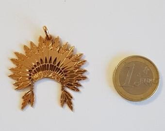 18K gold plated Indian headdress pendant