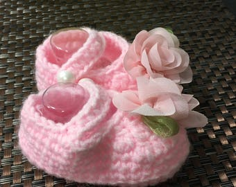 Charming pink crocheted slippers
