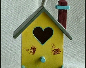 Hand-Painted Miniature Birdhouse