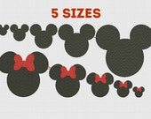 Machine Embroidery Mickey & Minnie SET Fill Mouse Embroidery design Mickey Minnie Head Embroidery Pattern Mickey INSTANT Download 4x4 5x7