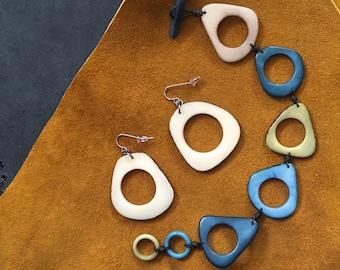 Tagua Nut Earrings and Bracelet
