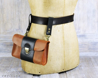 Orange and Black Leather Waist Bag, Leather Fanny Pack, Leather Hip Bag - by Vericone
