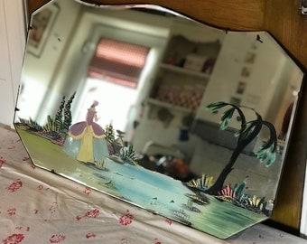 1930s Crinoline lady mirror