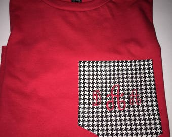 Houndstooth t shirt, pocket, college football, game day, Christmas gift,  game day t shirt, Crimson Tide, shirts, all sizes, initial or name