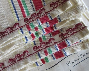2 Mushroom Trim 100% Cotton Retro Striped Kitchen Tea Towels