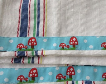 2 Mushroom Folkloric Trim Retro Kitchen Cotton Tea Towels White With Blue Red Green Yellow Stripes