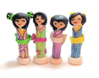 Japanese Kokeshi Doll - Polymer Clay Art Doll - Mini Doll - Kawaii Doll - Random Doll - Mini Japanese Peg Doll